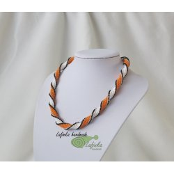White and Orange Spiral Necklace