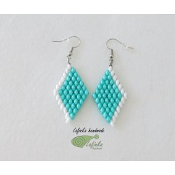 Green earrings with white ice