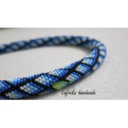 Gridded Necklace in Blue Shadows